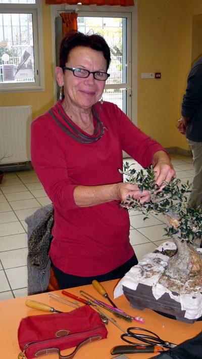 Françoise travaille un olivier et elle est bien contente !